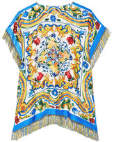 Dolce & Gabbana Fringed Printed Silk-blend Twill Top - Yellow