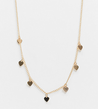 ASOS DESIGN Curve necklace with heart charms in gold tone