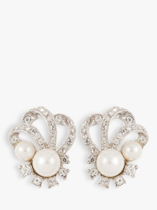 Susan Caplan Vintage Rhodium Plated Faux Pearl and Swarovski Crystal Art Deco Clip-On Earrings, Silver