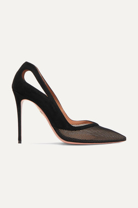 Aquazzura Shiva 105 Cutout Mesh And Suede Pumps - Black