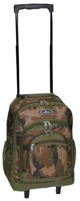 Everest Woodland Camo Wheeled Backpack 18 x 13.5 x 7.5