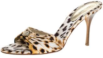 Roberto Cavalli Brown/Beige Leopard Print Canvas Open Toe Sandals Size 40.5