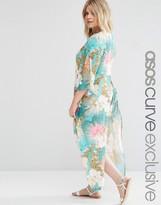Asos Split Side Maxi Beach Kimono in Tropical Floral Print