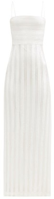 Galvan Sardinia Side-slit Sequinned Column Gown - White