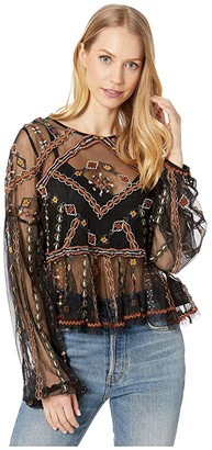 Free People Give A Little Mesh Top (Black) Women's Clothing