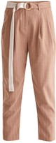 Striped Peg Leg Trousers With Contrasting O-Ring Belt In Sand & White