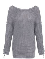 Quiz Light Grey Knitted Batwing Sleeve Jumper