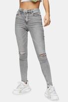 Topshop Womens Grey Knee Rip Jamie Skinny Jeans - Grey