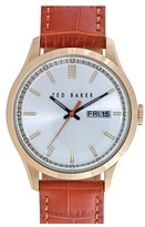 Ted Baker Men's Croc-Embossed Leather Strap Watch, 40Mm