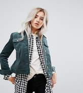 Noisy May Petite Cord Jacket With Borg Collar