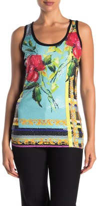 Petit Pois Floral Striped Mesh Backed Sequin Tank