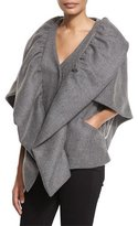 Milly Statement Double-Face Wool-Blend Cape Jacket, Charcoal