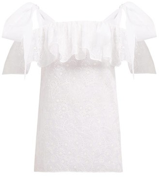 Valentino Micro Sangallo Cotton-blend Broderie Anglaise Top - Womens - White
