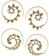 Bamboo Set of 2 Pair of New Indian Brass Fashion Handmade Party Wear Spiral Hoop Earrings