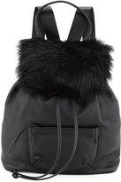Elizabeth and James Langley Fur-Flap Leather Backpack, Black