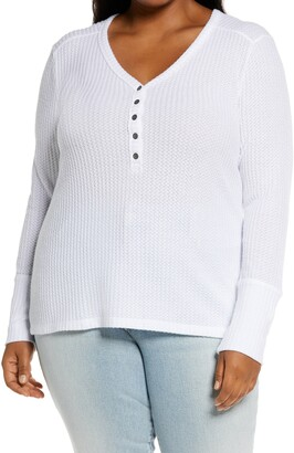 Caslon High Cuff Thermal Henley Top