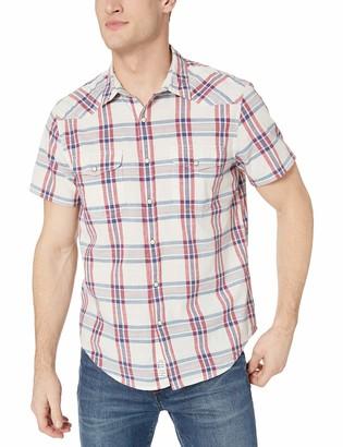 Lucky Brand Men's Short Sleeve Button UP Plaid Santa FE Western Shirt