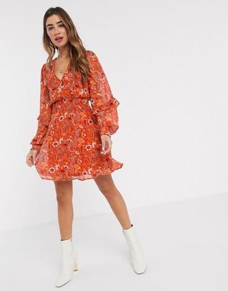 Stradivarius frill mini dress with floral print