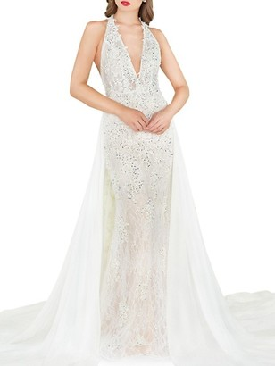 Mac Duggal Glitter Lace Column Gown