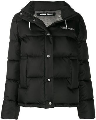 Miu Miu Logo Hooded Puffer Jacket