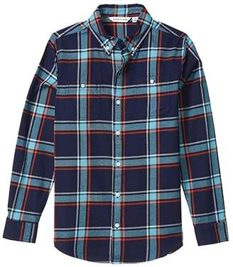 Janie and Jack Plaid Button Up-Top (Toddler/Little Kids/Big Kids) (Blue Multi) Boy's Clothing