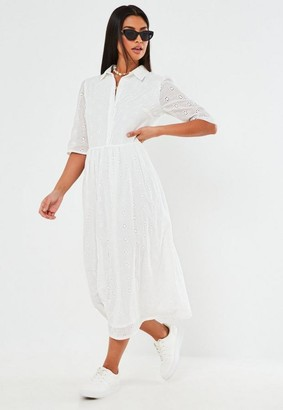 Missguided White Broderie Anglaise Smock Shirt Midi Dress