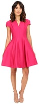 Halston Short Sleeve Notch Neck Dress with Tulip Skirt