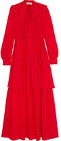 Sonia Rykiel Tiered Ruffled Silk Crepe De Chine Maxi Dress - FR34