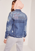 Missguided Blue American Dreamer Denim Jacket