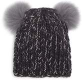 Eugenia Kim Mini Double Fox Fur Pom-Pom Beanie