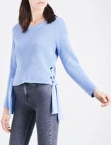 Claudie Pierlot Matelot tie-side cotton-blend jumper