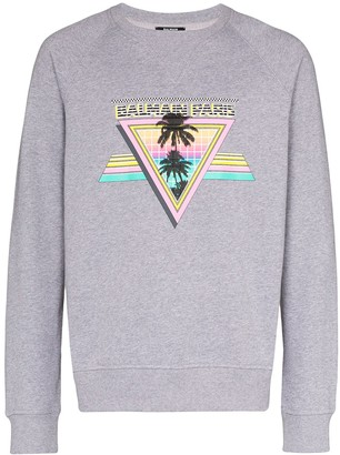 Balmain Palm Logo Print Sweatshirt