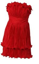 Marchesa Notte Strapless Plisse Taffeta Dress