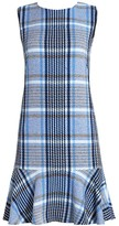 Akris Punto Plaid Tweed Flounce Hem Shift Dress