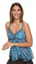 Croft & Barrow Women's Tummy Slimmer Mesh Flyaway D-Cup Tankini Top