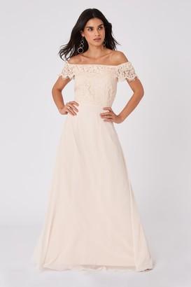 Little Mistress Bridesmaid Alexia Nude Lace Bardot Maxi Dress