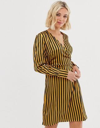 Pieces stripe wrap dress-Gold