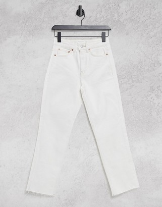 Topshop straight leg jeans in off white