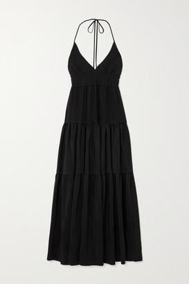 Three Graces London Chloe Open-back Tiered Silk Crepe De Chine Maxi Dress - Black