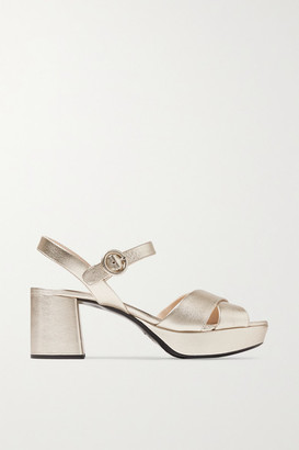 Prada Metallic Textured-leather Platform Sandals - Gold