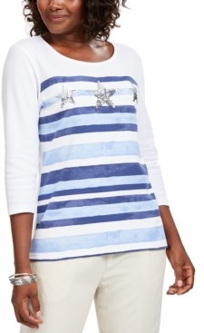 Karen Scott Striped Sequined Seashell Top, Created for Macy's