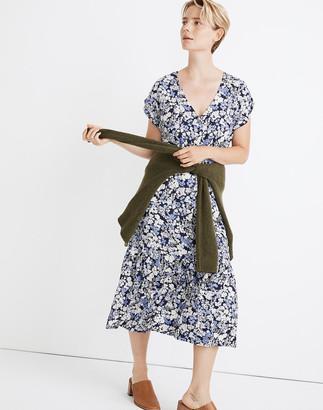 Madewell Button-Front Ruffle-Hem Midi Dress in Flower Garden