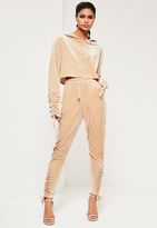Missguided Nude Velvet Ruched Hem Joggers