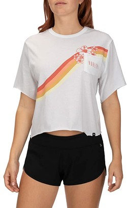 Hurley Seagull Stripes Pocket Short Sleeve Crew (White) Women's T Shirt