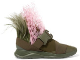 Christopher Kane Feather-embellished Neoprene Sneakers - Army green