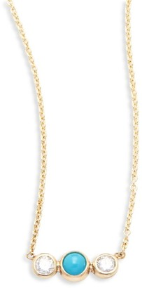 Zoë Chicco Diamond, Turquoise & 14K Yellow Gold Pendant Necklace