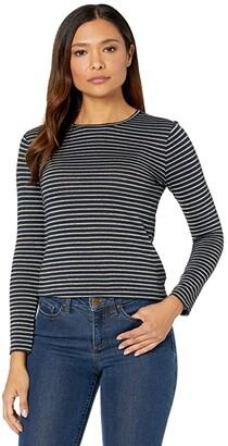Lauren Ralph Lauren Petite Metallic-Stripe Jersey Top (Lauren Navy/Gold) Women's Clothing
