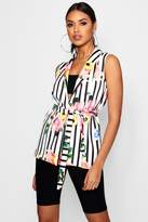 boohoo Lucy Floral Stripe Mix Belted Sleeveless Blazer