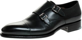 Santoni Olive Green Leather Double Buckle Monk Derby Size 44