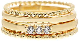 Sterling Forever 14K Plated Cz Set Of 4 Rings